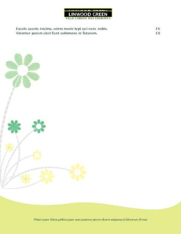 Green Daisy Accent Menu Page Two