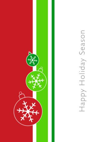 Green and Red Holiday Ornaments Card