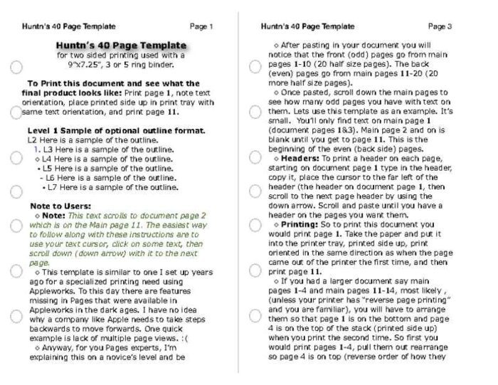 Half-Page Binder Page Refills Text