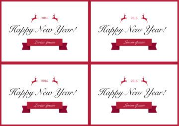 Happy New Year Cards in Red and White