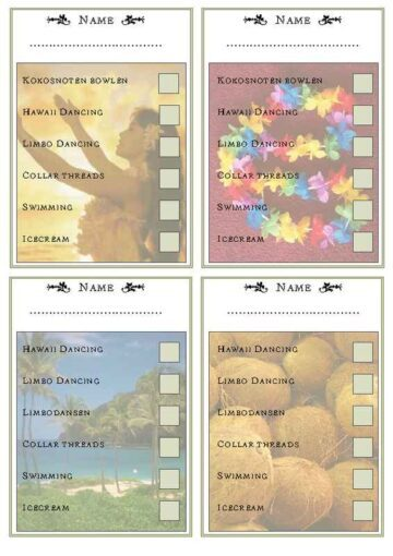 Hawaiian Theme Activity Checklist