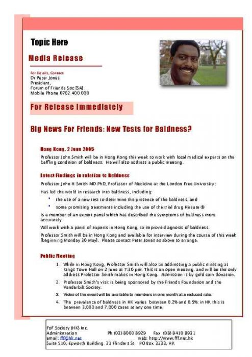 Immediate Press Release with Red Accents and Image