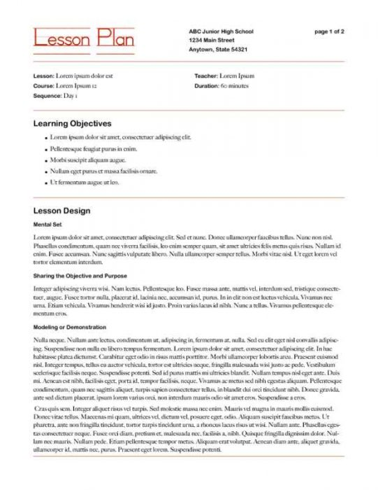 Lesson Plan Framework with Learning Strategies Page One