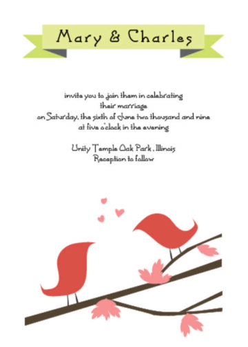 Lovebirds Wedding Invitation