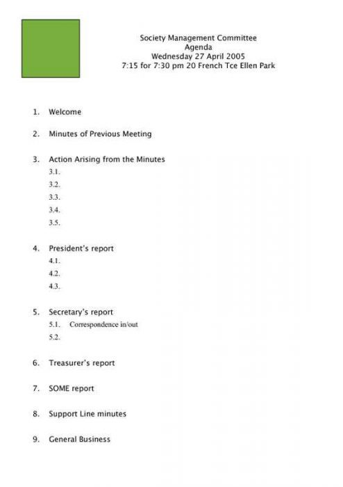 Meeting Agenda for Clubs and Organizations Page One