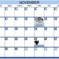 November Calendar with Blue Border