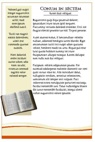 Orange Theme Church Bulletin Left Page