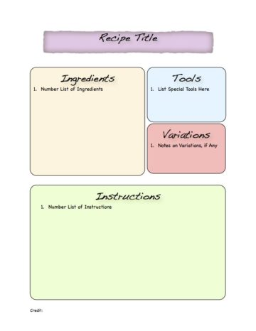 Pastel Full-Page Recipe Template