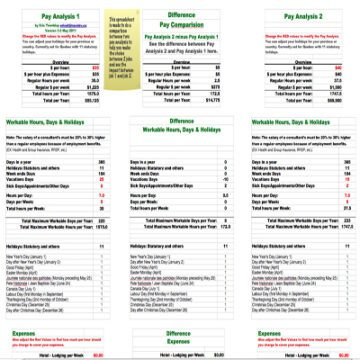 Pay Style Comparison Worksheet
