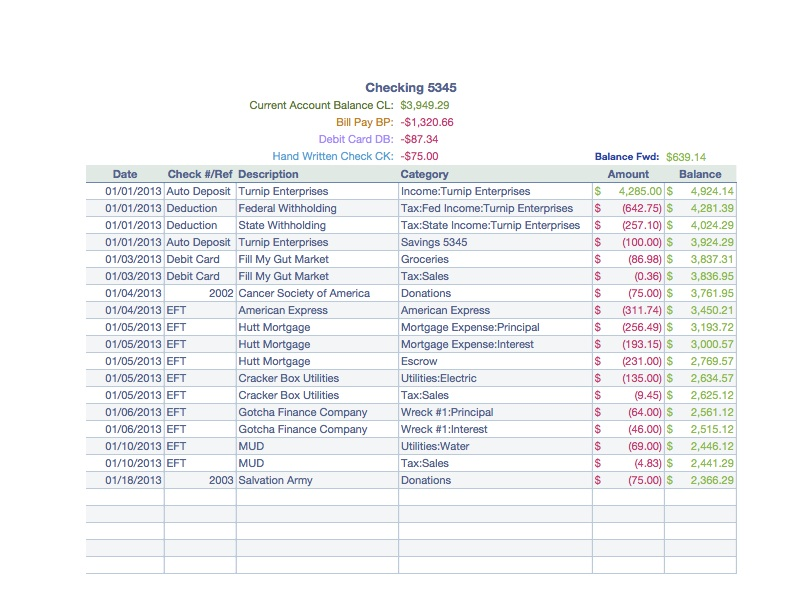 Personal Finance with Checking Log Account Details