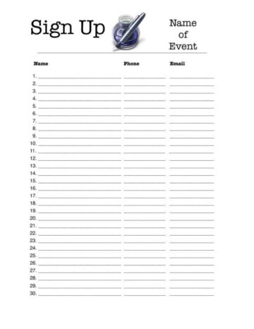 Portrait 30-Person Sign-Up Sheet
