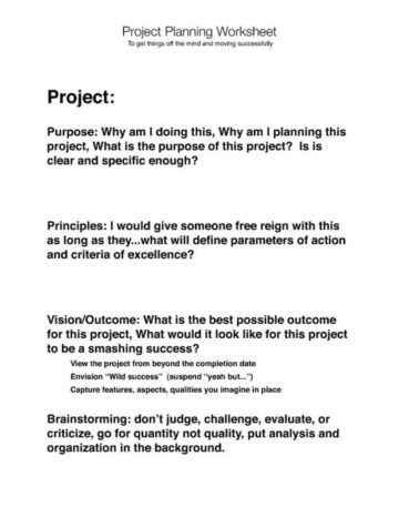 Project Management Worksheet Page One