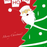 Red and Green Santa and Tree Holiday Card