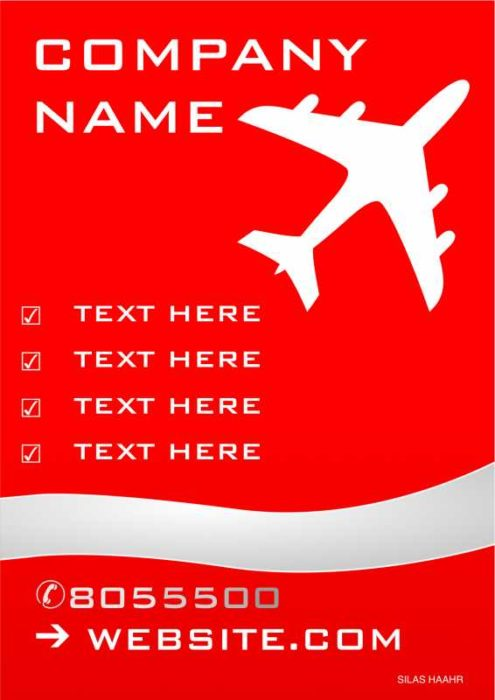 Red and White Airplane Poster