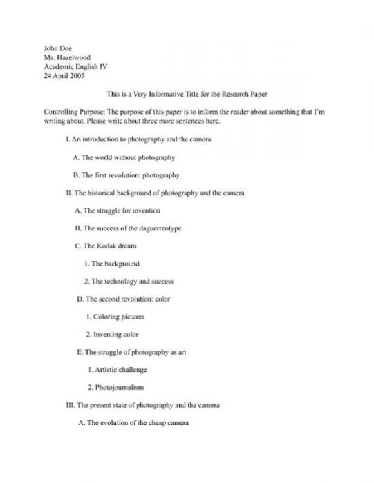 Research Paper Outline with Purpose Statement Page One