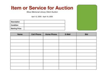 Silent Auction Bidding Sheet with Item Image
