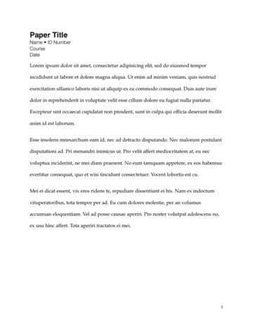 Simple Term Paper Layout First Page