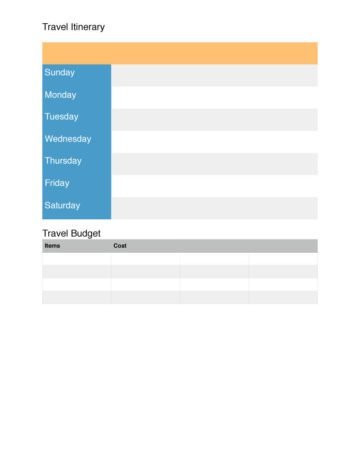 Simple Travel Itinerary with Budget