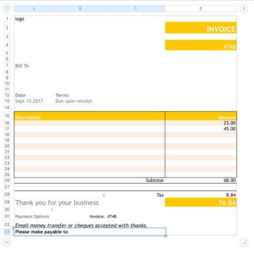 Simple Yellow Colourful Invoice