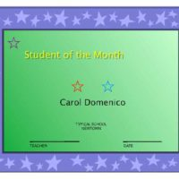 Student of the Month Certificate in Primary Colors