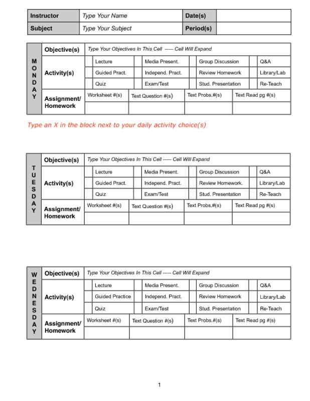 Weekly Lesson Plan Checklist (Portrait) Monday to Wednesday