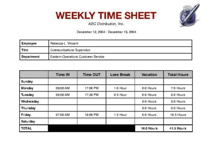 Weekly Timesheet with Breaks and Vacation Hours