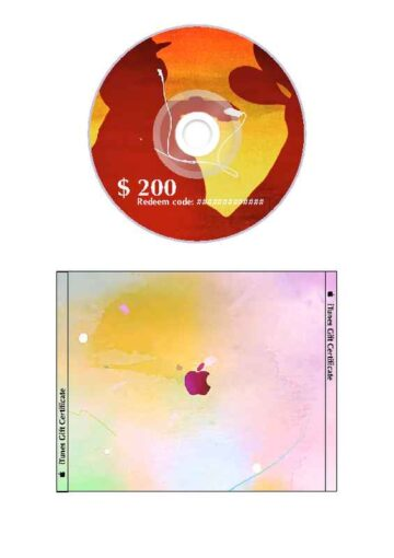 iTunes Gift Certificate for CD Case Design